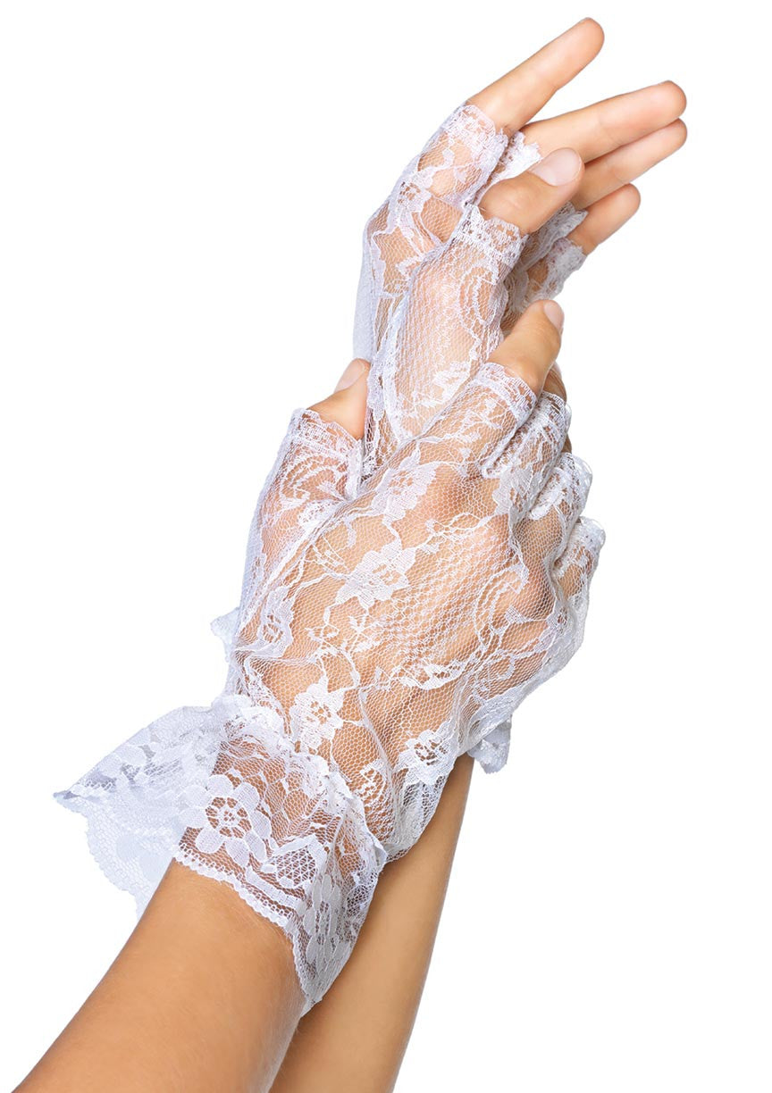 Ruffled Wrist Length Fingerless Gloves