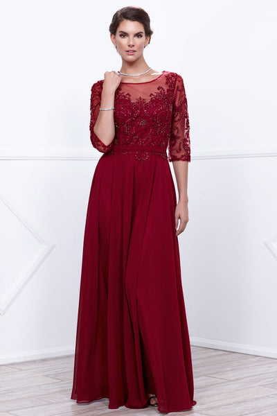 Elbow Sleeves Floor Length Formal Dress