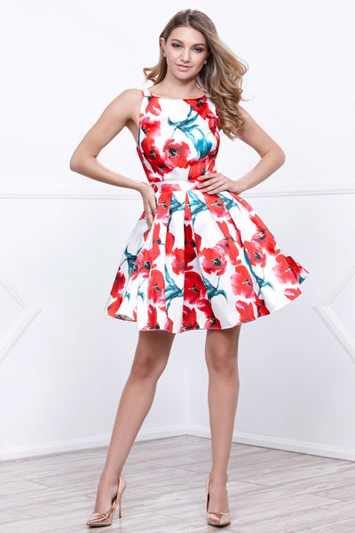 Floral Print Short Sleeveless Cocktail Dress
