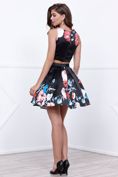 Two-Piece Floral Print Short Party Dress