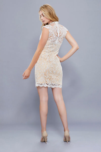 Champagne Lace High Neck Short Cocktail Dress
