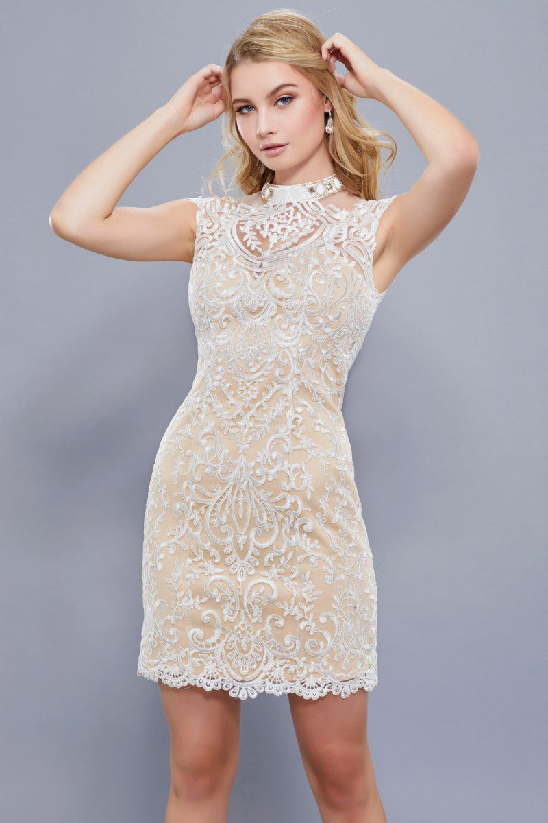 Champagne Lace High Neck Short Cocktail Dress – The Magic of Chic