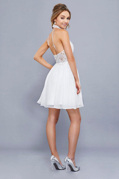Halter Neckline Cocktail Short Dress