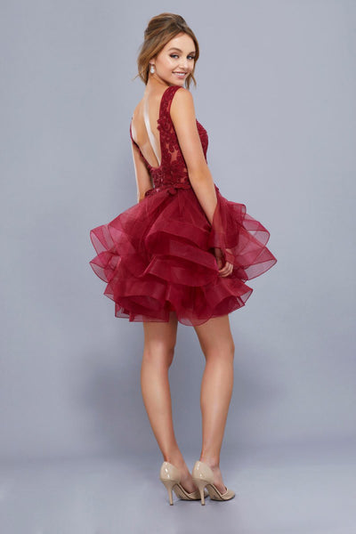 Ruffled Tiered Skirt Short Cocktail Dress
