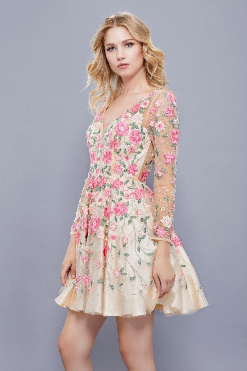 Embroidered Sheer Sleeves Party Dress