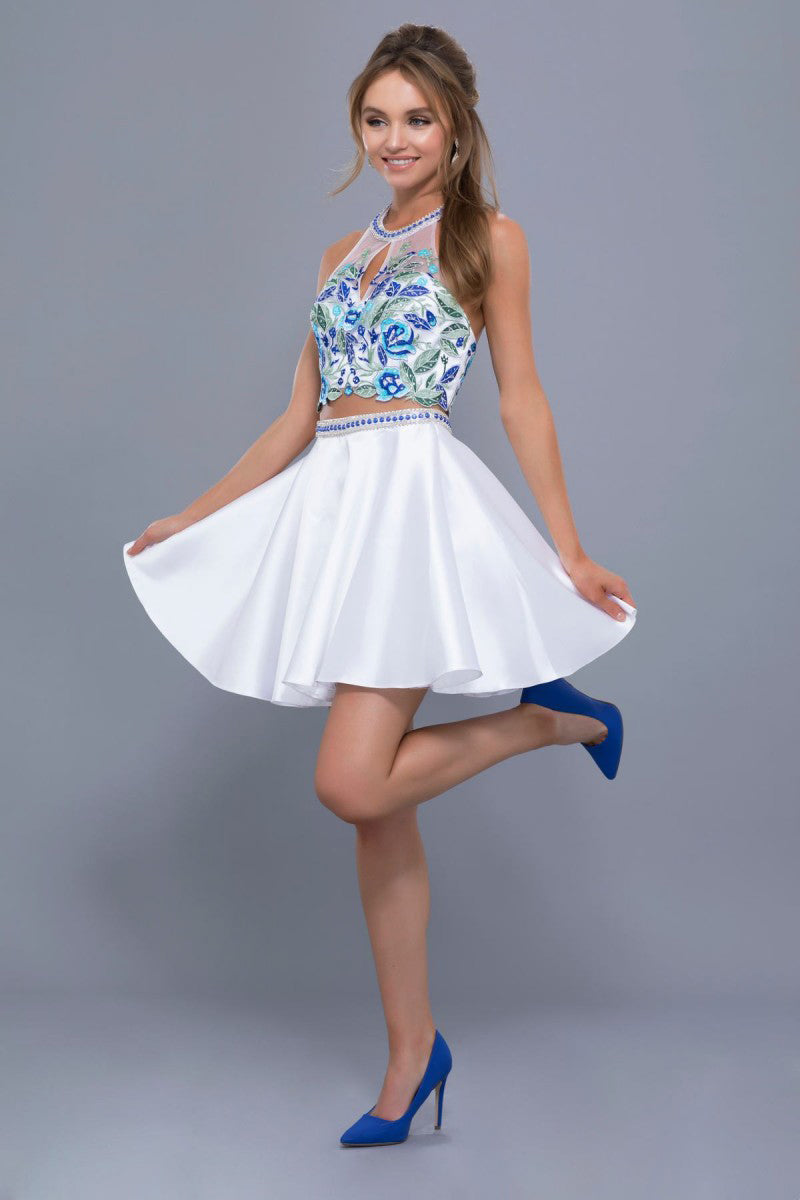Two-Piece Embroidered Lace Short Party Dress
