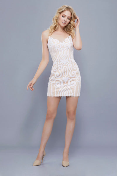 Sheath Ivory-Nude Party Dress