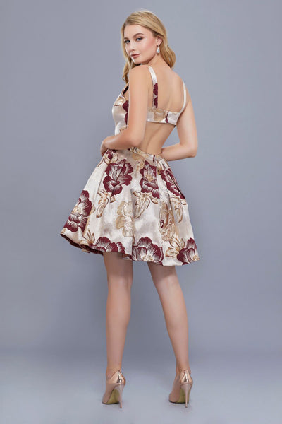 Printed Short Champagne Pleated Party Dress