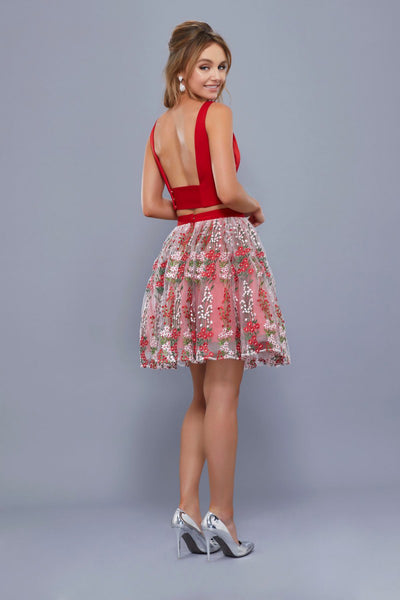 Floral Embroidered Skirt Two-Piece Dress