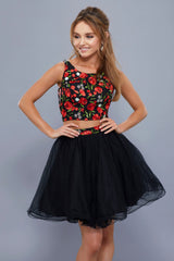 Floral Top & Organza Skirt Fit & Flare Short Dress