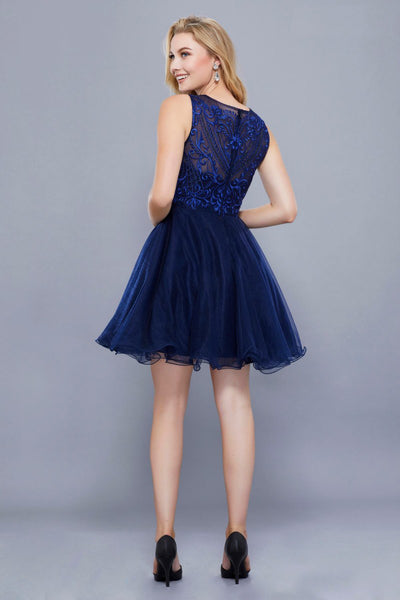 Embroidered Fit & Flare Navy Short Dress