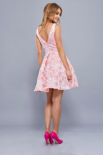 Pink Leaf Print Short Dress