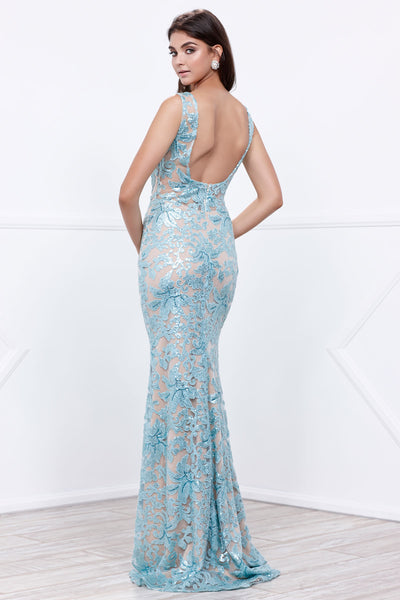 Open Back Long Sheath Evening Dress