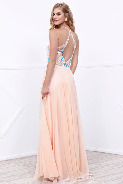 Embellished Halter Long Evening Dress