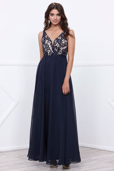 Lace Bodice Chiffon Sleeveless Dress