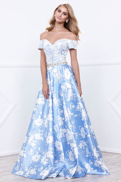 Floral Print & Lace Bodice Long Dress