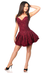 Burgundy Lace Corset Party Dress