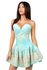 Aqua Floral Corset Party Dress With Embroidery