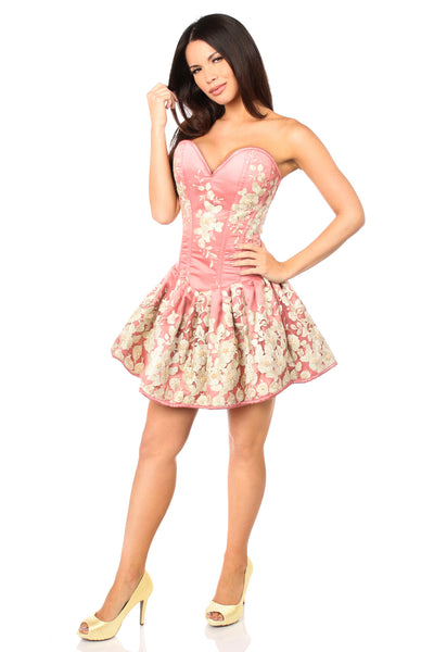 Coral Floral Corset Party Dress With Embroidery