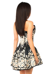 Black Floral Corset Party Dress With Embroidery