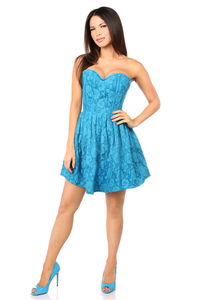 Teal Lace Empire Waist Corset Party Dress
