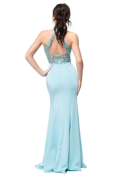 Aqua Long Formal Evening Dress