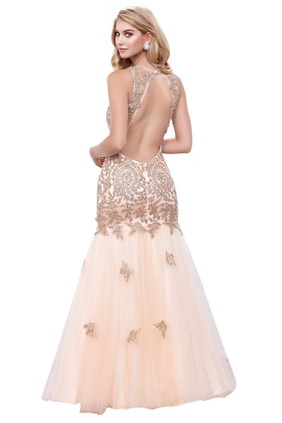 Backless Evening Trumpet Style Dress