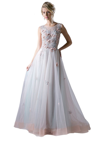 Beaded Bodice Tulle Evening Gown