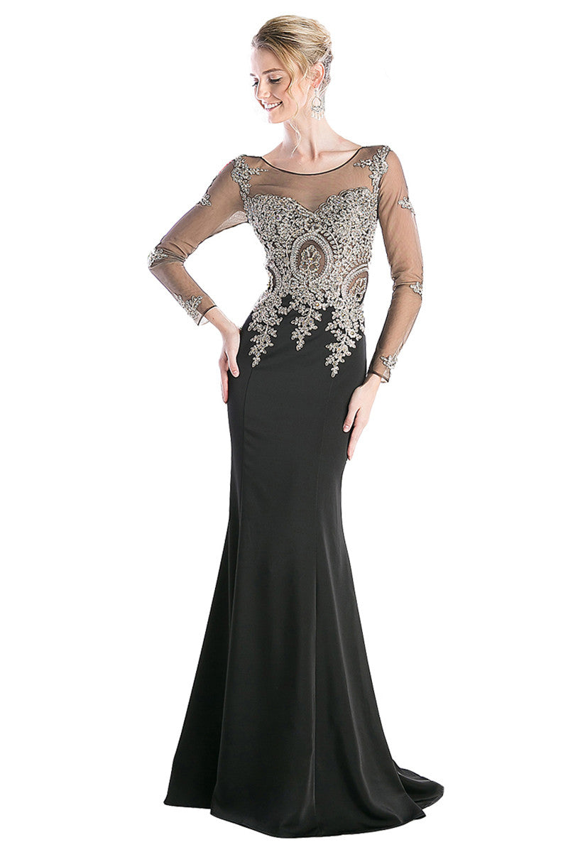Beaded Evening Trumpet Gown