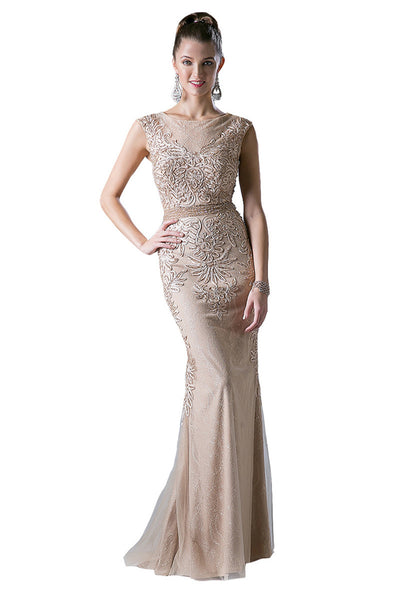 Beaded Lace Long Evening Dress
