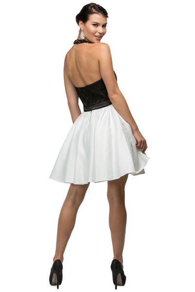 Black & White Short Halter Party Dress