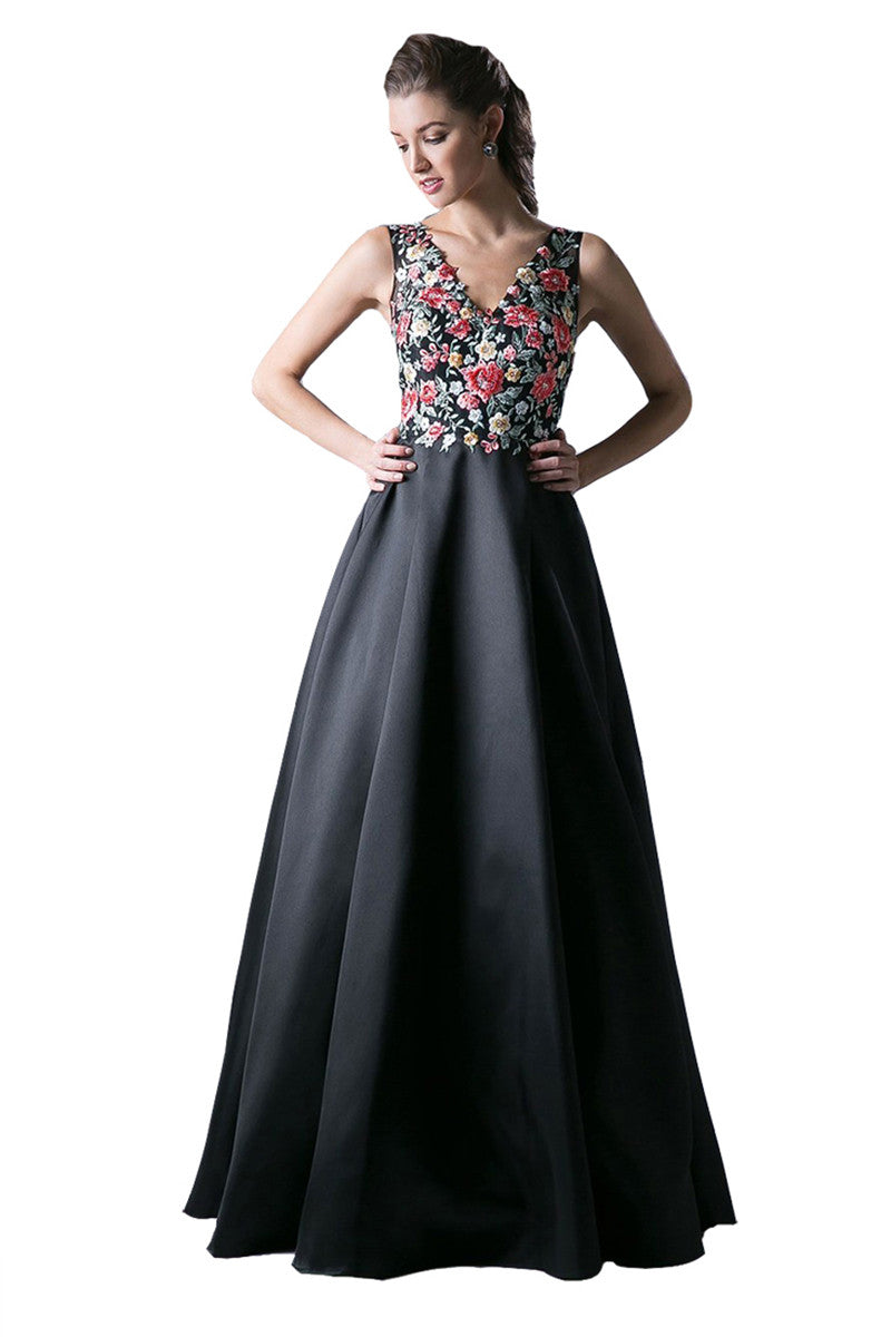 Black A-Line Floral Evening Dress
