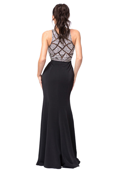 Black Beaded Bodice Trumpet Dress