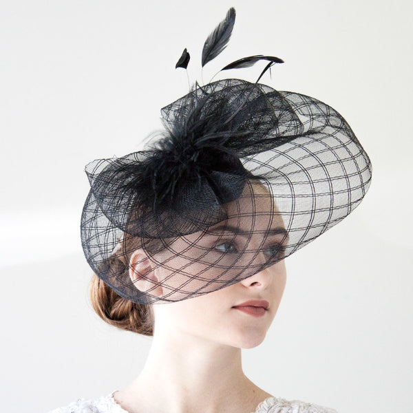 Black Fascinator Hat for Women