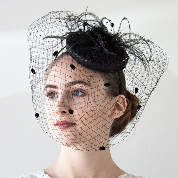 Black Fascinator Headband With Veil