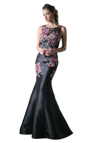 Black Floral Sleeveless Trumpet Dress