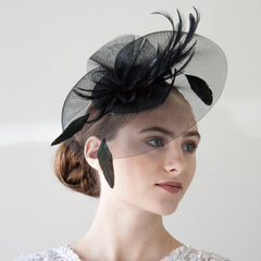 Black Hat With Feathers Fascinator