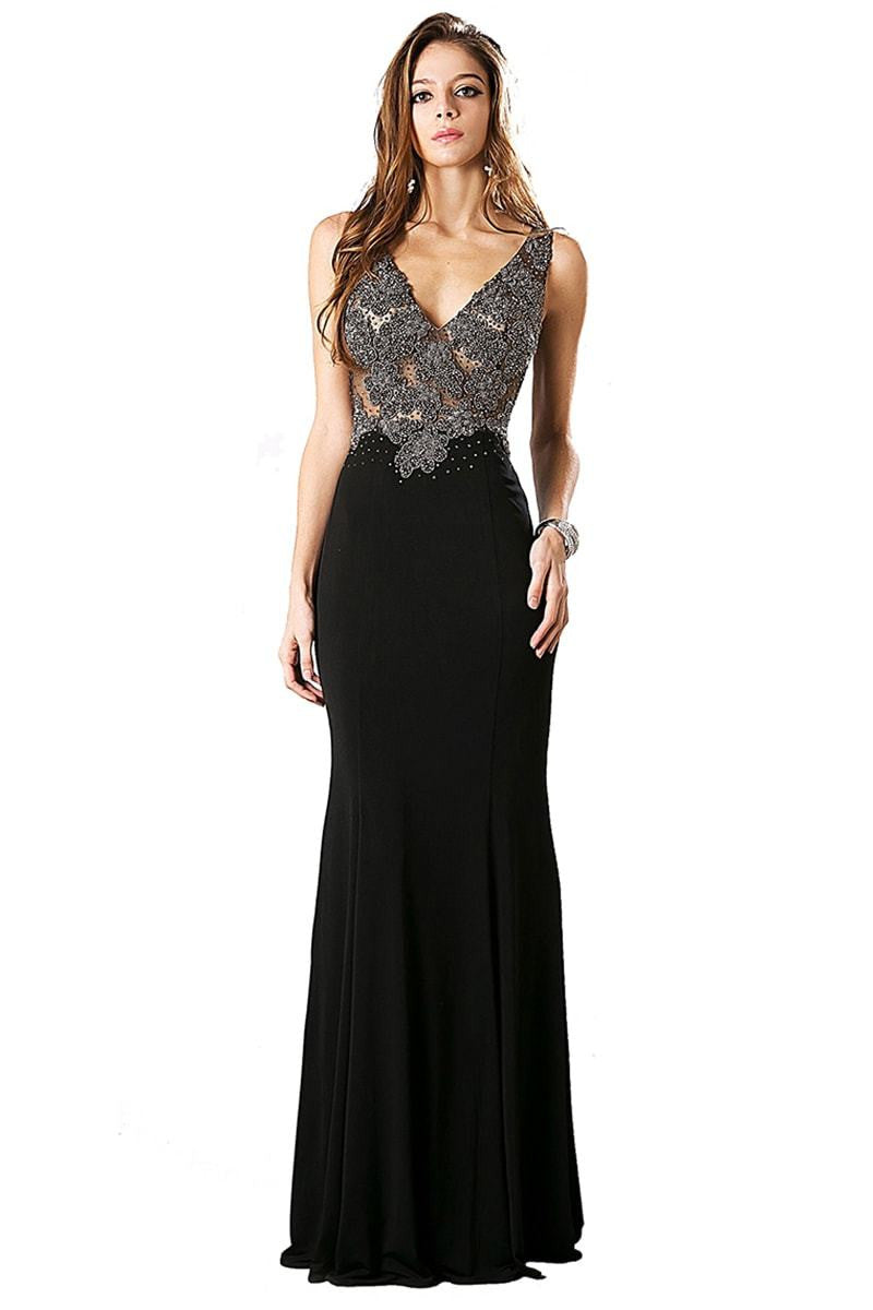 Black Long Beaded Bodice Dress