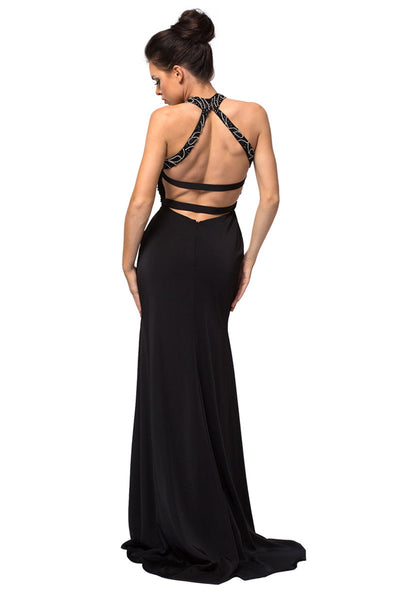 Black Open Back Trumpet Evening Dress