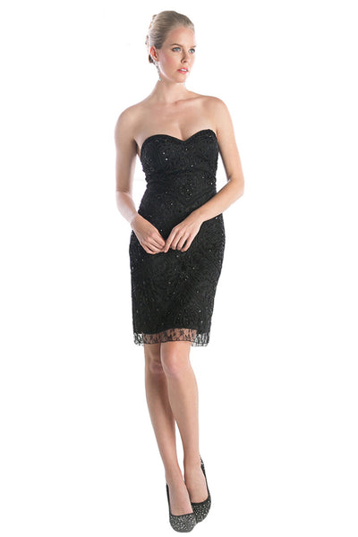 Black Strapless Sweetheart Cocktail Dress