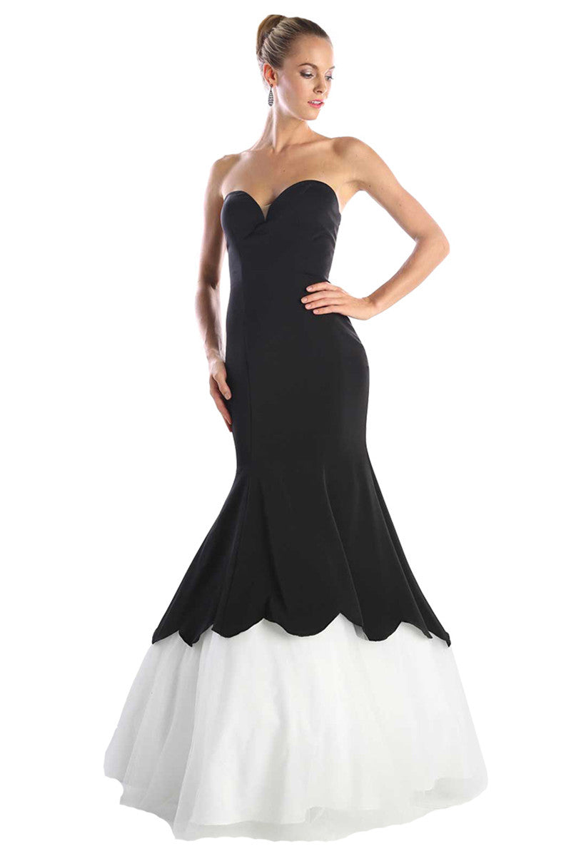 Black Strapless Sweetheart Trumpet Gown