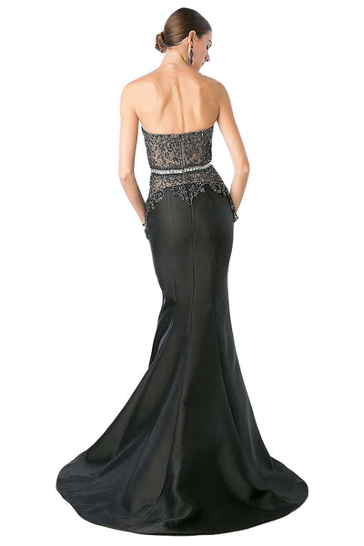 Black Strapless Trumpet Dress
