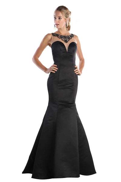 Black Trumpet Gown With Illusion Back
