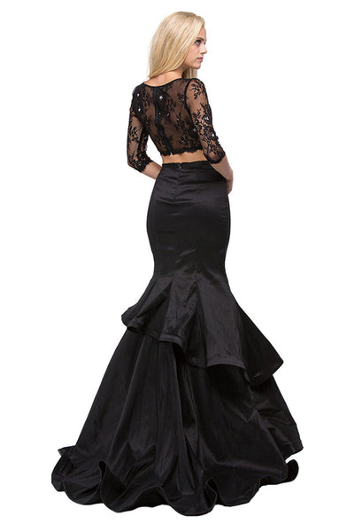 Black Two Piece Trumpet Dress