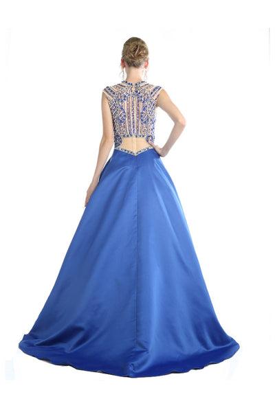 Blue Ballroom Gown Two Piece Style