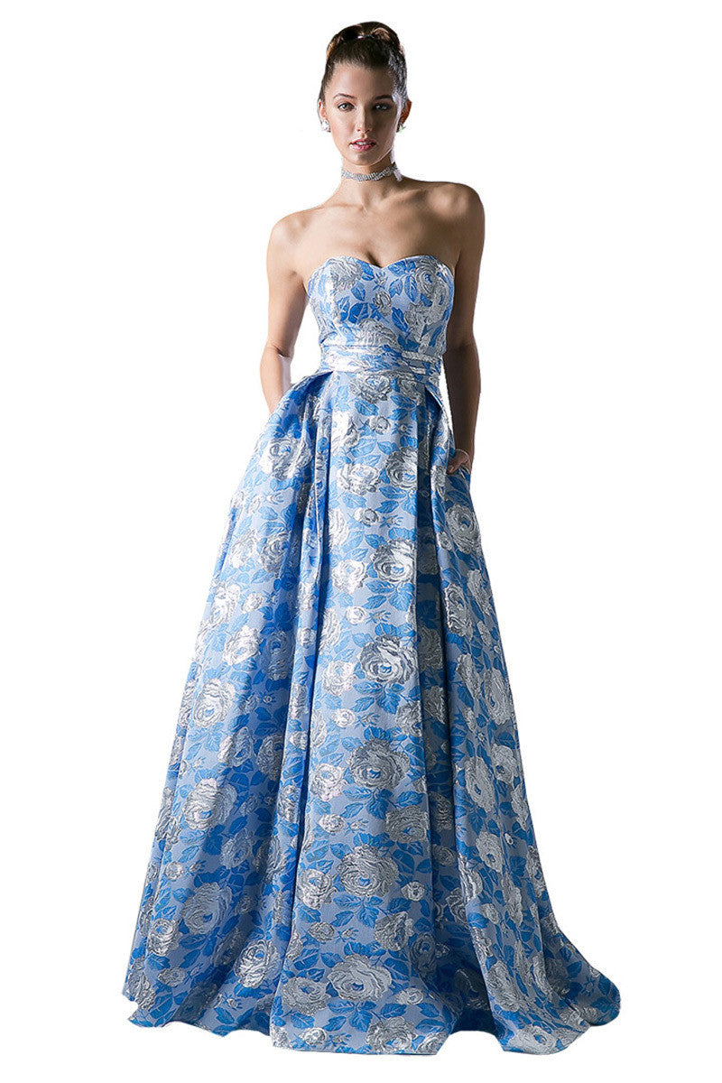 Blue Floral Print A-Line Evening Dress