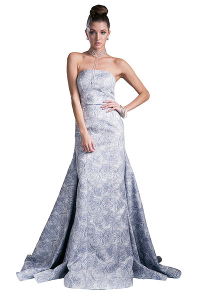 Blue Floral Print Long Evening Dress