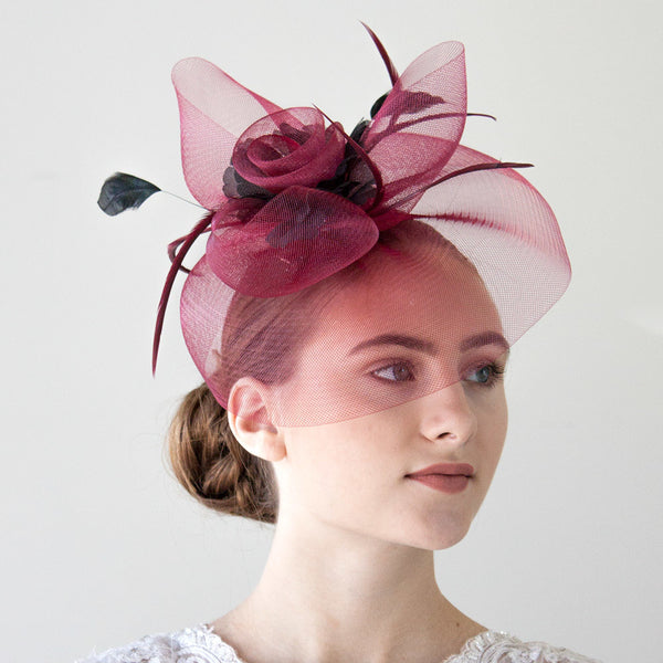 Burgundy Fascinator Hat for Women