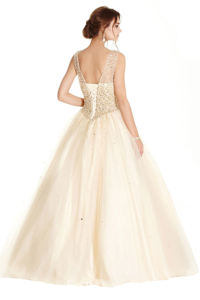 Champagne Color Long Evening Gown