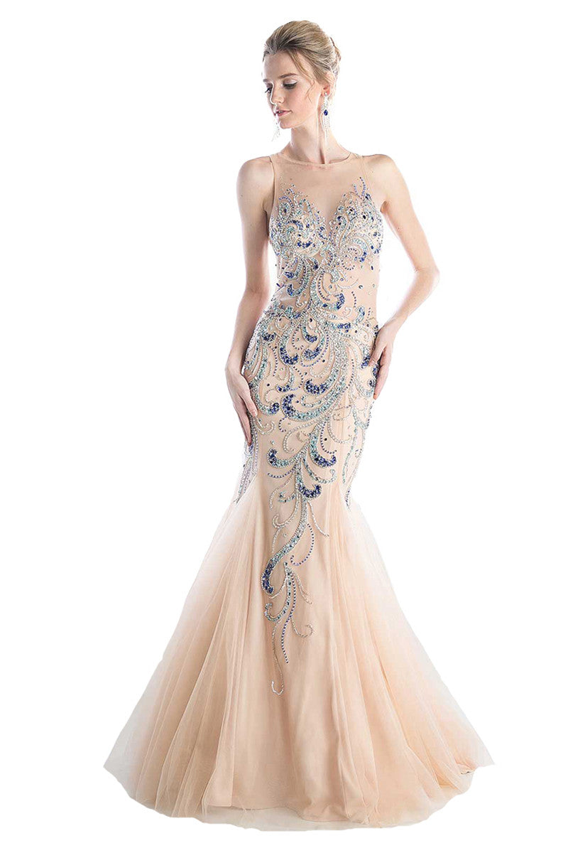 Champagne Color Mermaid Evening Gown